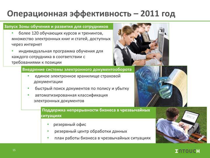 Операционная эффективность – 2011 год
