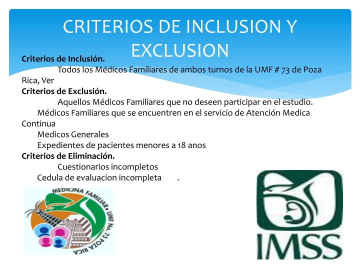 CRITERIOS DE INCLUSION Y EXCLUSION