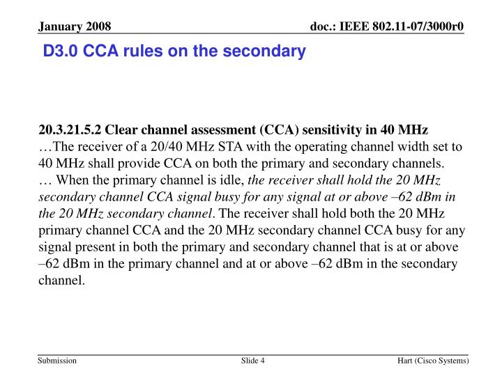 D3.0 CCA rules on the secondary