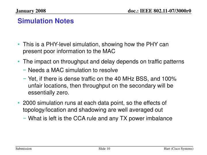 Simulation Notes