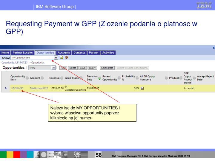 Requesting Payment w GPP (Zlozenie podania o platnosc w GPP)