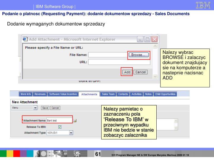 Podanie o platnosc (Requesting Payment): dodanie dokumentow sprzedazy - Sales Documents