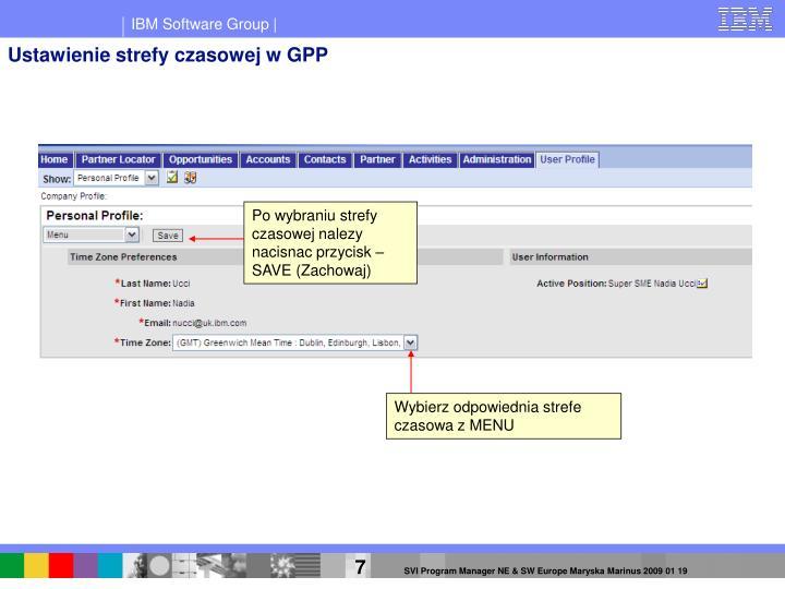 Ustawienie strefy czasowej w GPP