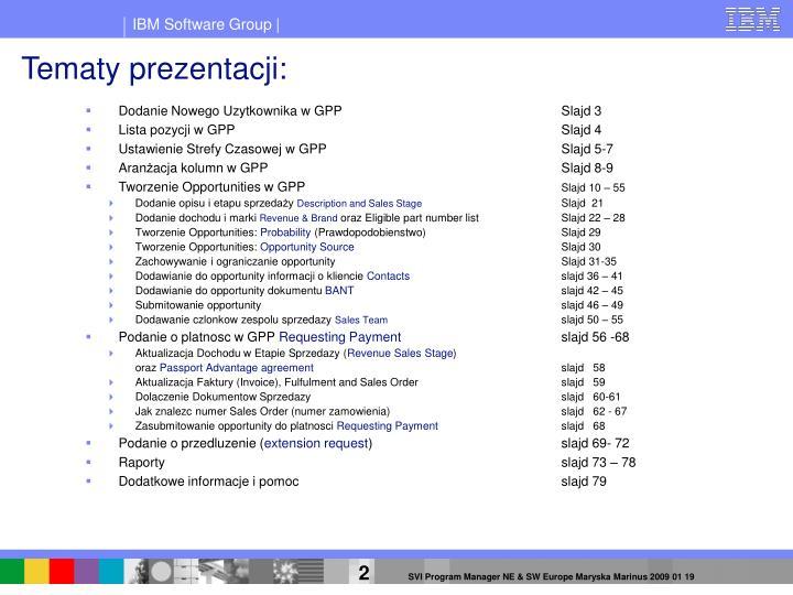 Tematy prezentacji: