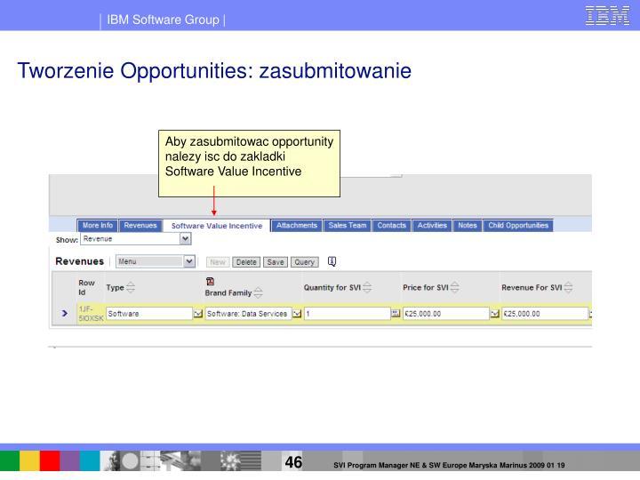 Tworzenie Opportunities: zasubmitowanie