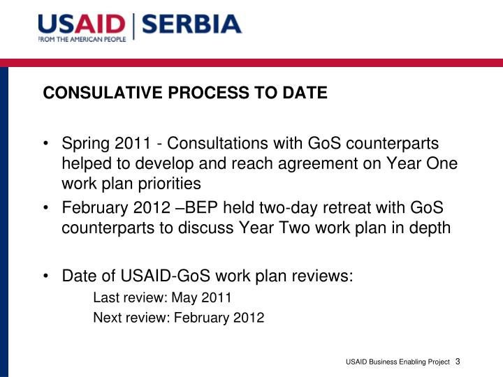 Consulative process to date