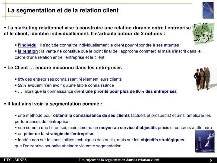 La segmentation et de la relation client