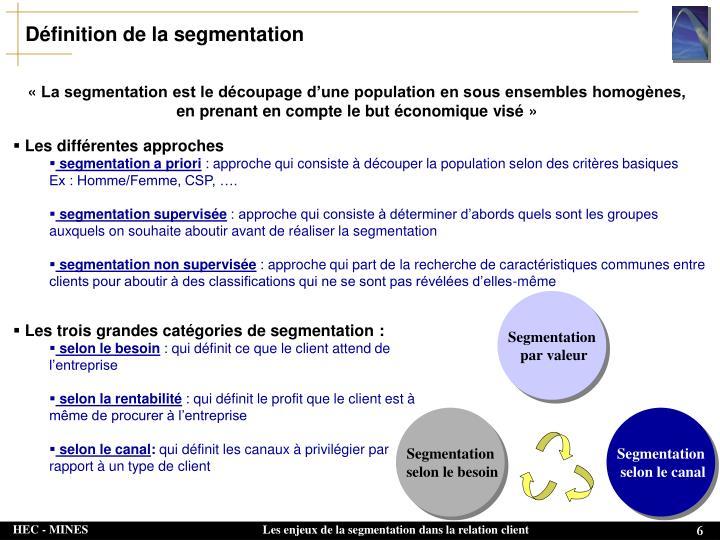 Définition de la segmentation