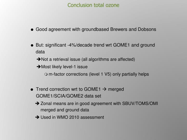 Conclusion total ozone