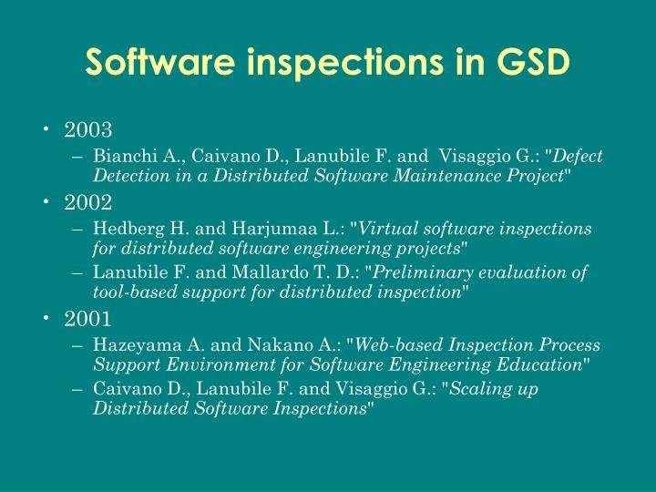 Software inspections in GSD