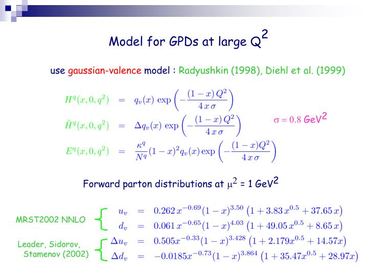Model for GPDs at large Q