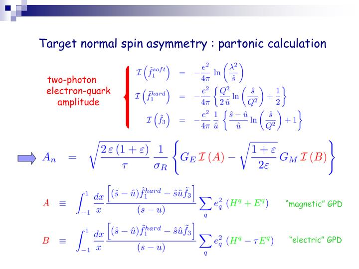 Target normal spin asymmetry : partonic calculation