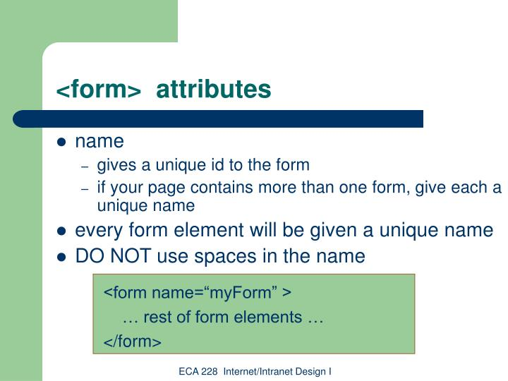 <form>  attributes