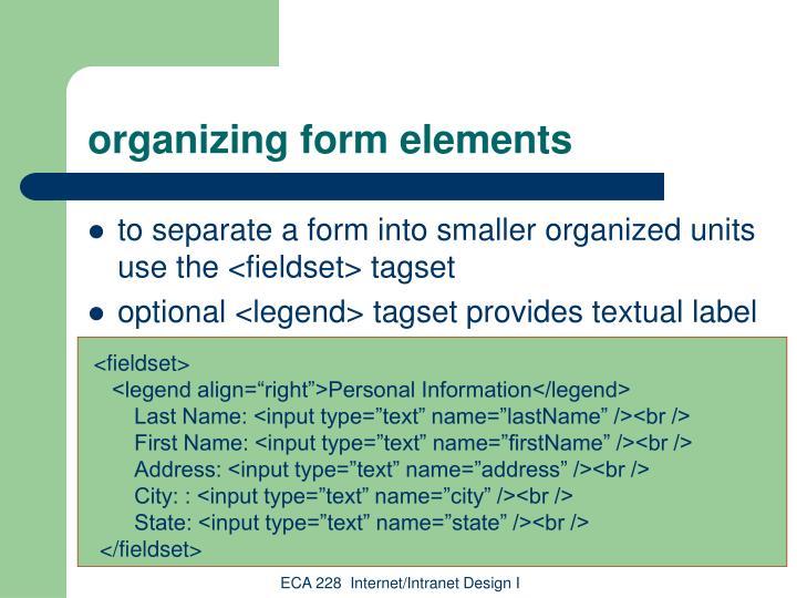 organizing form elements