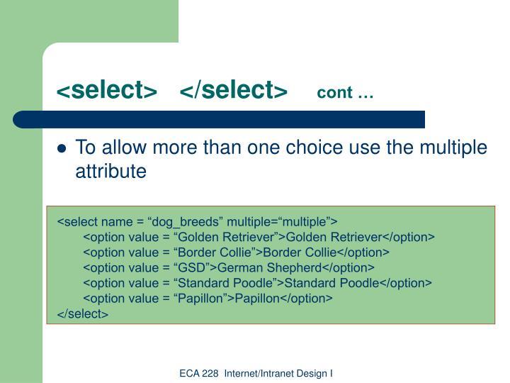 <select>   </select>