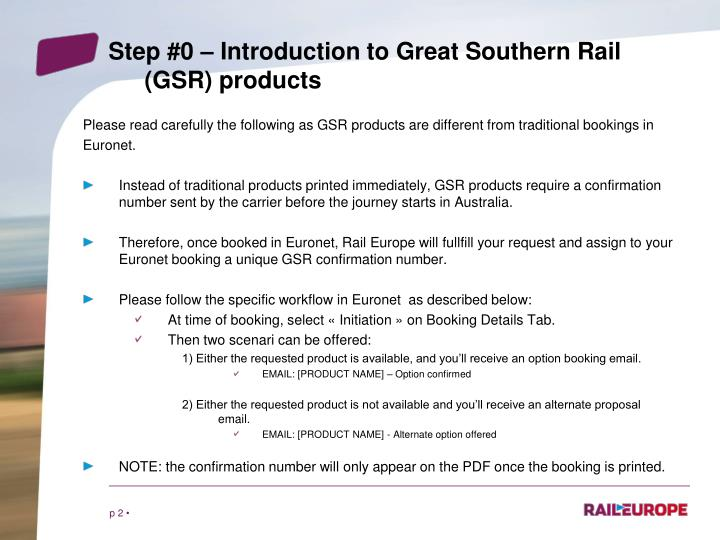Step #0 – Introduction to Great Southern Rail
