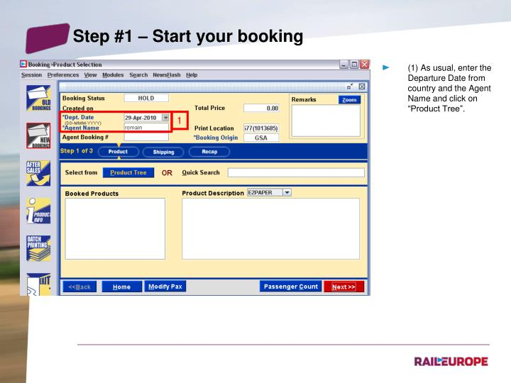 Step #1 – Start your booking
