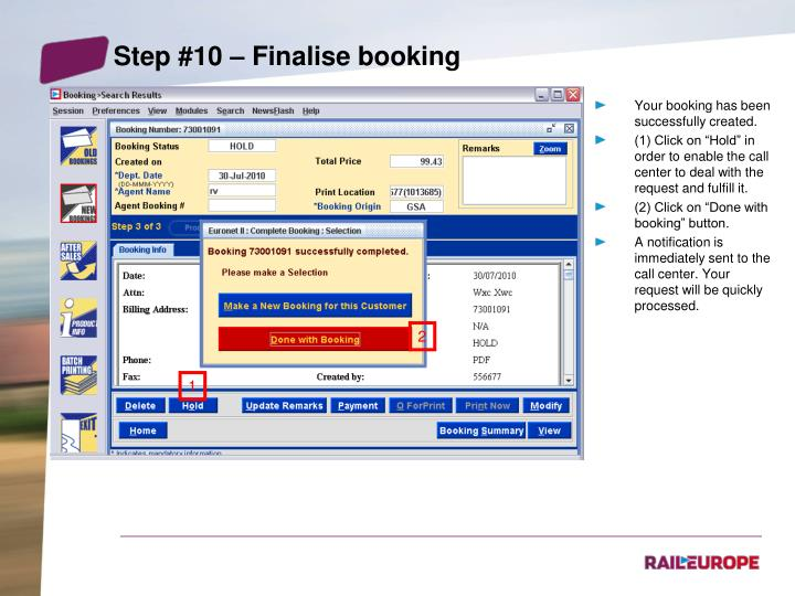 Step #10 – Finalise booking