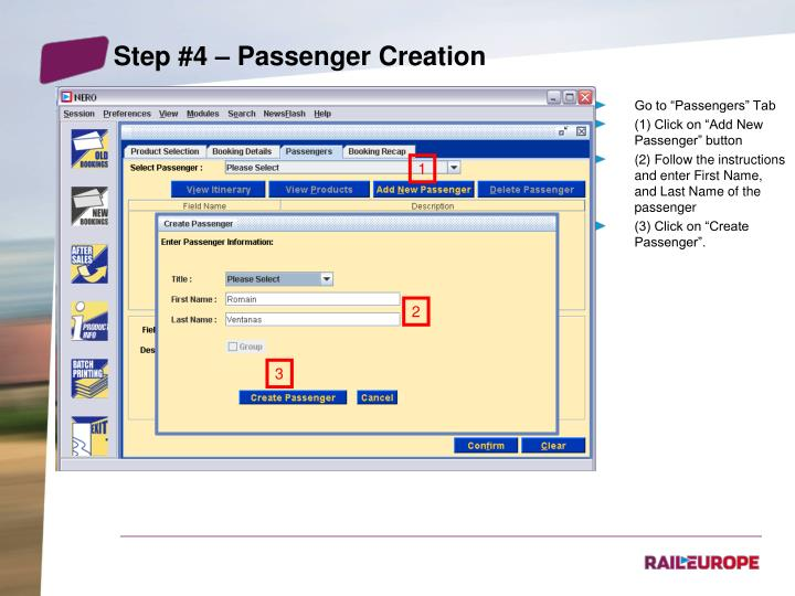 Step #4 – Passenger Creation