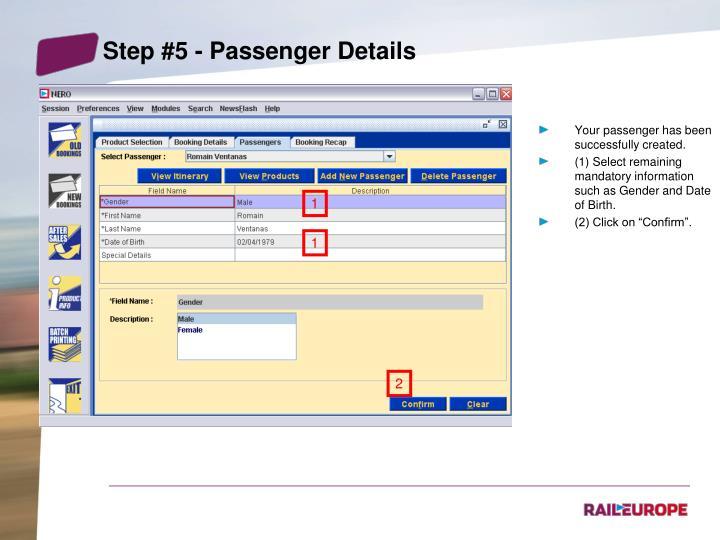 Step #5 - Passenger Details