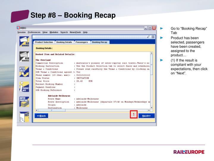 Step #8 – Booking Recap