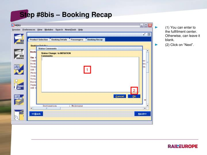 Step #8bis – Booking Recap