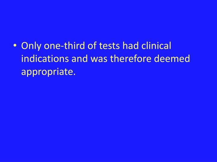 Only one-third of tests had clinical indications and was therefore deemed appropriate.
