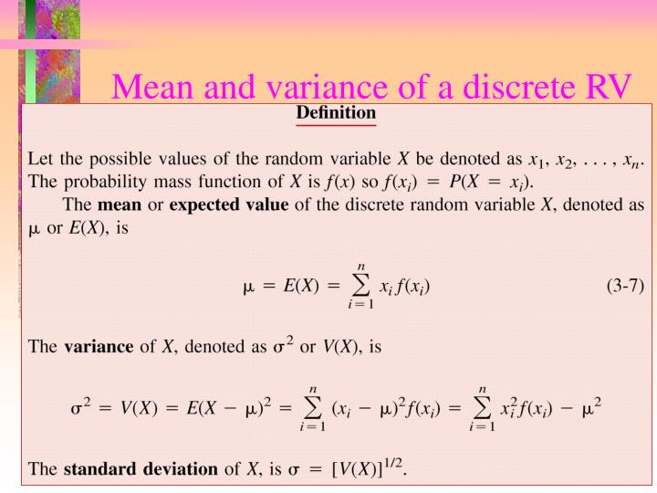 Mean and variance of a discrete RV