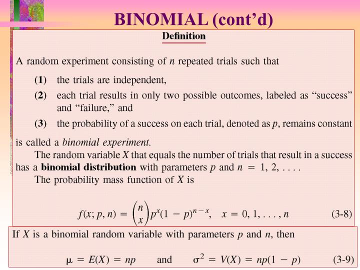 BINOMIAL (cont'd)