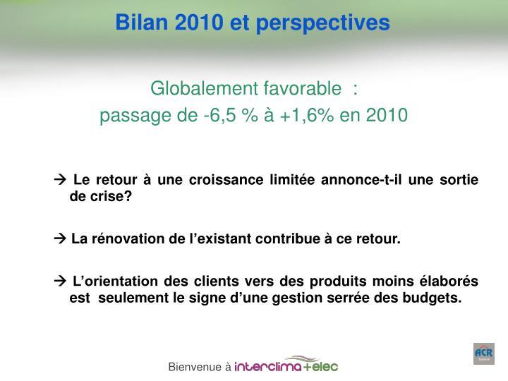 Bilan 2010 et perspectives