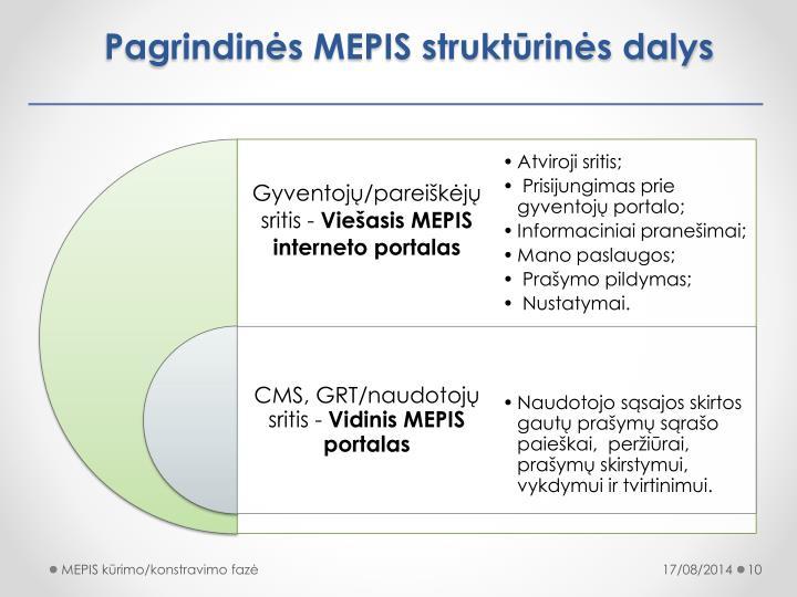 Pagrindinės MEPIS struktūrinės dalys