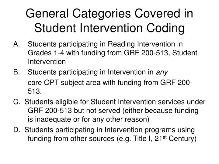 General categories covered in student intervention coding