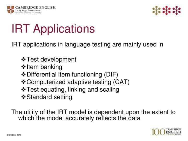 IRT Applications