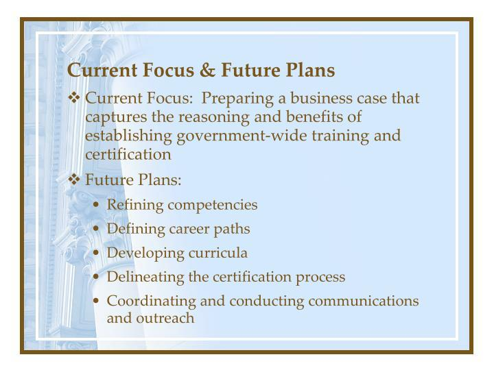Current Focus & Future Plans