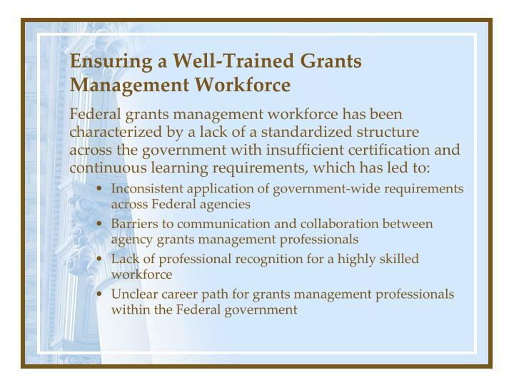 Ensuring a Well-Trained Grants Management Workforce