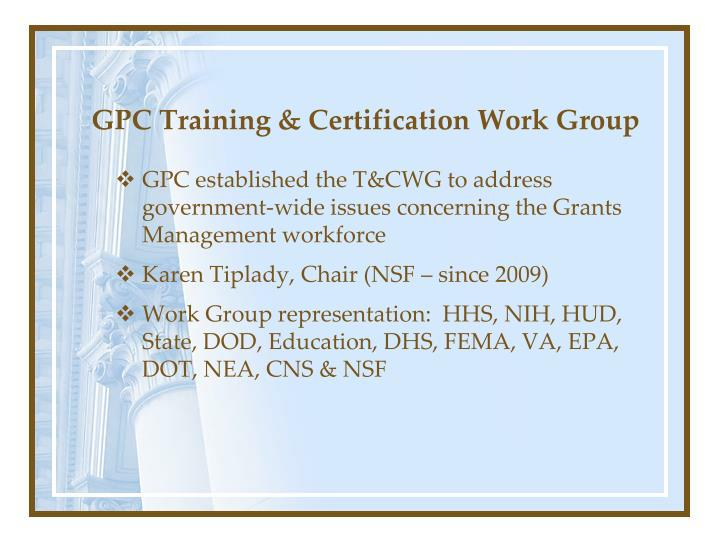 GPC Training & Certification Work Group