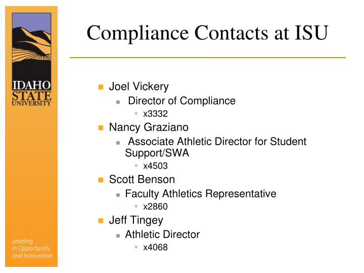 Compliance Contacts at ISU