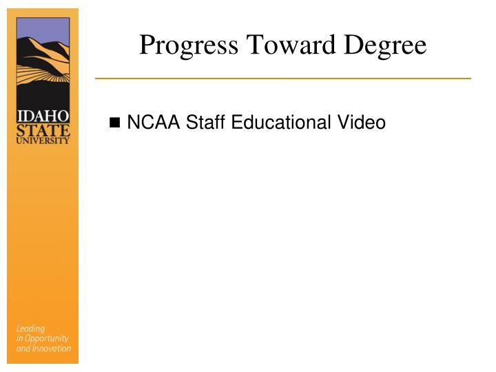 Progress Toward Degree