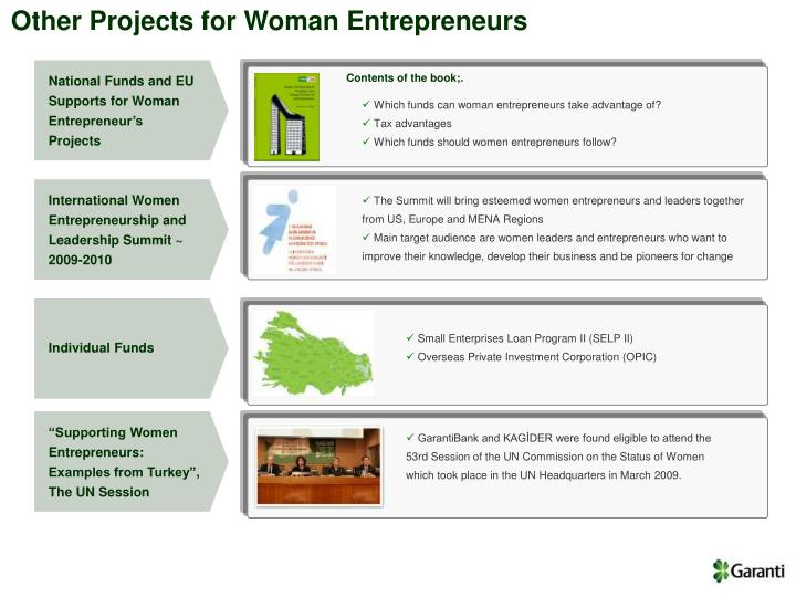 Other Projects for Woman Entrepreneurs