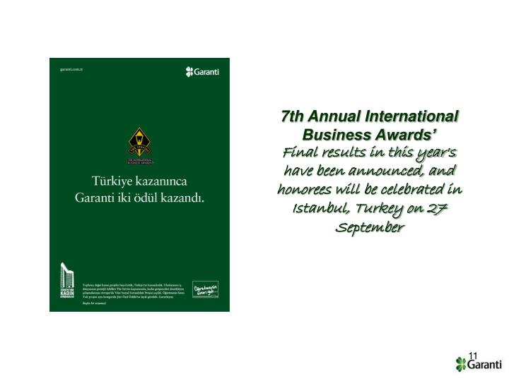 7th Annual International Business Awards'