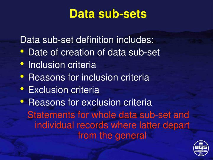 Data sub-sets