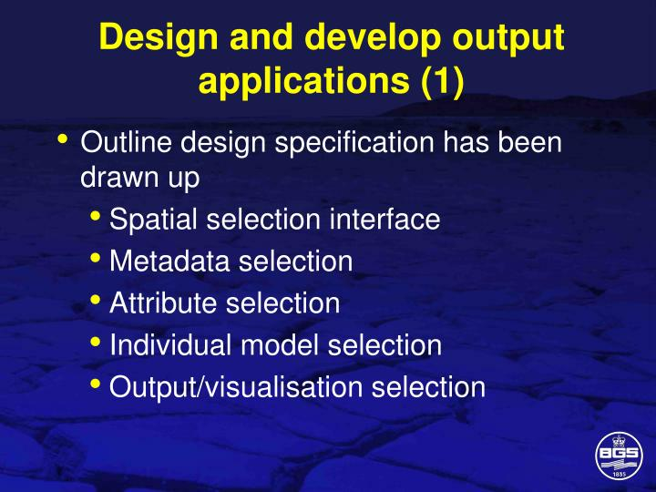 Design and develop output applications (1)