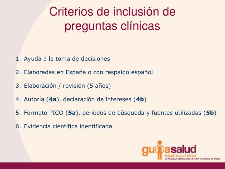 Criterios de inclusión de preguntas clínicas