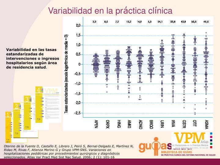 Variabilidad en las tasas estandarizadas de intervenciones o ingresos hospitalarios según área de residencia salud