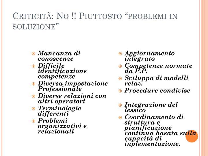 """Criticità: No !! Piuttosto """"problemi in soluzione"""""""