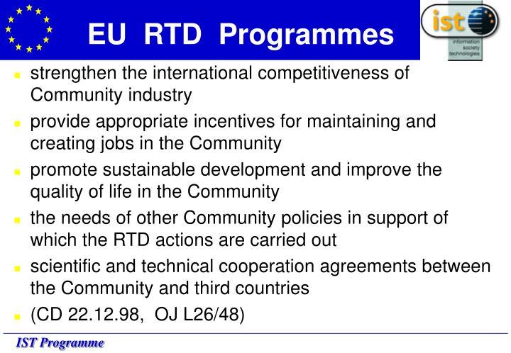 EU  RTD  Programmes