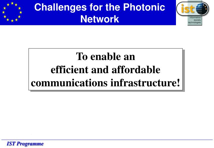Challenges for the Photonic Network