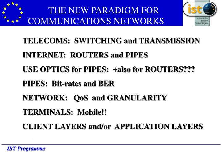 THE NEW PARADIGM FOR COMMUNICATIONS NETWORKS