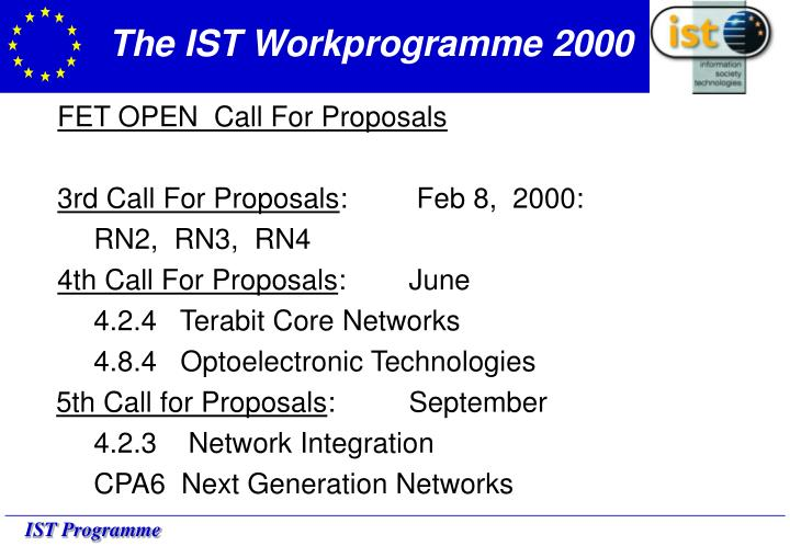 The IST Workprogramme 2000