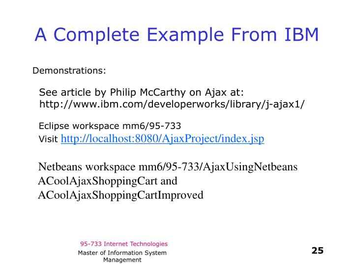 A Complete Example From IBM